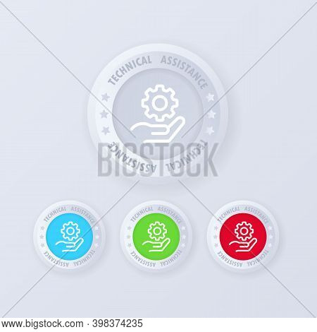 Technical Assistance Button In 3d Style.technical Support. Customer Help. Tech Support. Customer Ser