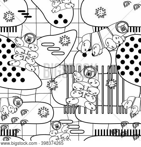Black White Tardigrade, Water Bears Or Moss Piglets Vector Repeat Seamless Pattern With Lines And Do