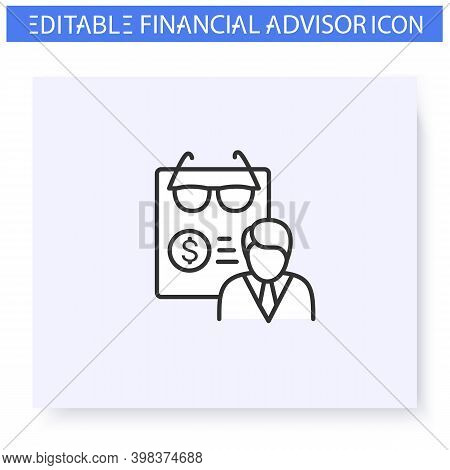 Retirement Planning Line Icon. Finance Advisor. Guidance And Consulting In Pension, Accounting And F