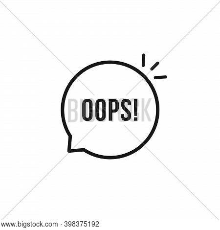 Black Oops Thin Line Logo. Flat Stroke Style Trendy Speech Bubble Logotype Graphic Art Design Elemen