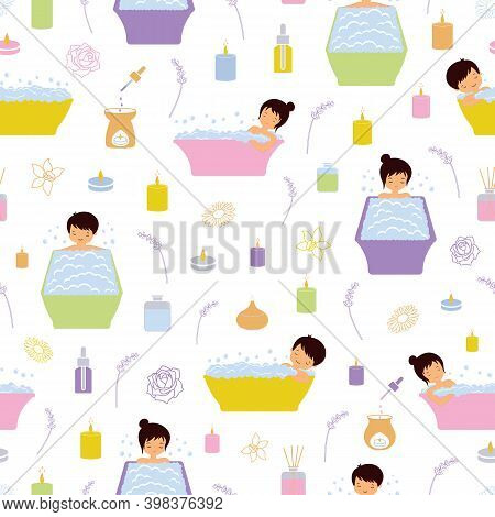 Seamless Vector Pattern On The Theme Of Aromatherapy Bubble Bath. A Beautiful Illustration Of Calm A