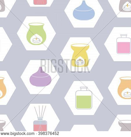 Vector Seamless Pattern With Essential Oil Burners, Lamps And Scent Diffusers In Hexagons. Perfect B