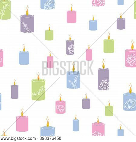 Seamless Vector Pattern With Colorful Aroma Candles With The Fragrances Of Rose, Chamomile And Laven