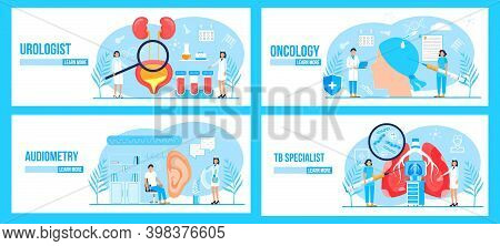 Urologist, Oncologist, Tb Specialist, Audiometer Concept Set Vector For Medical Website. Pulmonary F