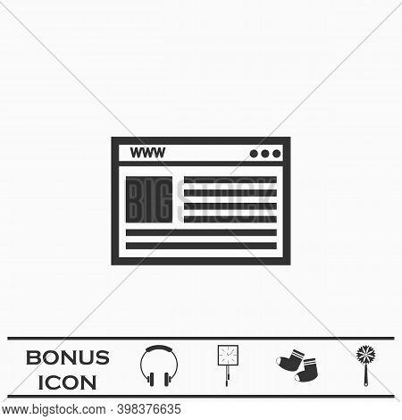 Browser Icon Flat. Black Pictogram On White Background. Vector Illustration Symbol And Bonus Button
