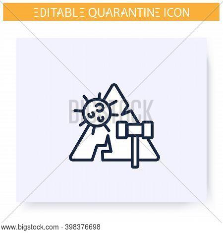 Quarantine Violation Line Icon. Quarantine Laws And Crimes Concept.social Isolation And Covid19 Spre