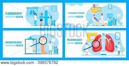 Fluorography, Rheumatologist, Pancreas, Pulmonologist Concept Set Vector. Pulmonary Fibrosis, Tuberc