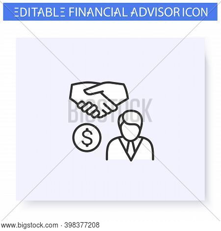 Private Banker Line Icon. Personal Financial Advisor. Consulting In Business, Accounting And Financi