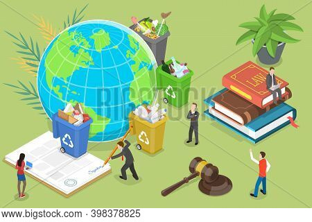 3d Isometric Flat Vector Conceptual Illustration Of Recycling Laws.