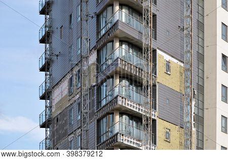 Leeds, West Yorkshire, United Kingdom - 3 September 2020: Cladding Being Removed From Skyline Apartm