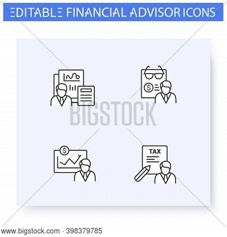 Financial Advisory Line Icon Set.including Financial Plan, Tax Preparer And Retirement Planning. Fin