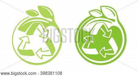 Zero Waste Recycling Emblem - Cradle-to-cradle Reusable Technology Symbol With Green Leaves - Isolat