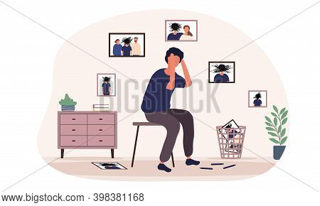 Caucasian Man Is Sitting Near Portraits Having Inner Conflict. Concept Of Internal Demons People Lis