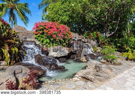 Landscaped Garden Including Perpetual Waterfall N Oahu, Hawaii