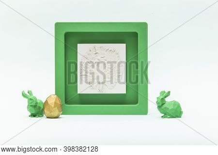 Trendy Easter Low Poly Decor - Botanical Bas-relief Cabbage Leaf, Golden Egg And Green Bunnies Of Ge