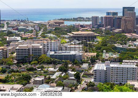 Downtown Honolulu And Suburbs, Out Towards Honolulu Harbor, Oahu, Hawaii