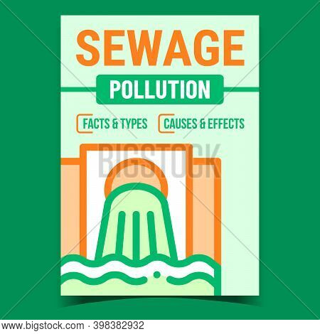 Sewage Pollution Creative Promotion Banner Vector. Industry Sewage Dirty Water From Pipe Advertising