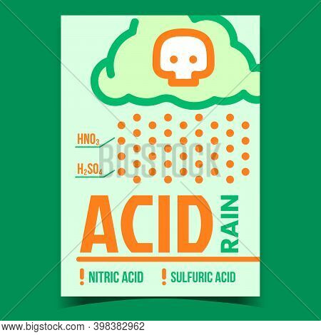 Acid Rain Problem Creative Promotion Banner Vector. Nitric And Sulfuric Acid Caused By Emissions Of