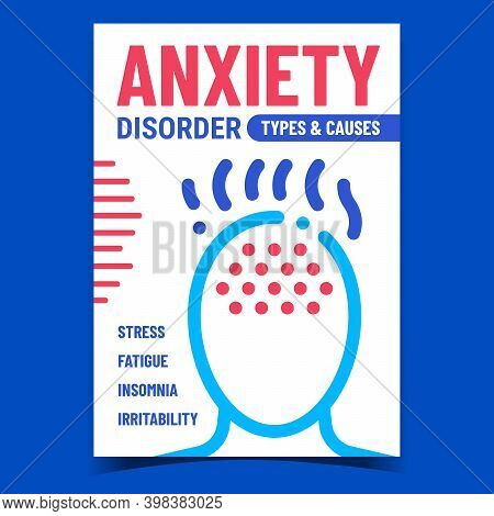 Anxiety Disorder Creative Promotion Banner Vector. Stress And Fatigue, Insomnia And Irritability Anx