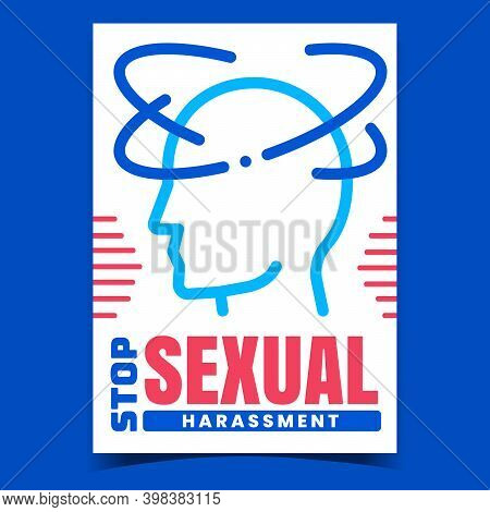 Stop Sexual Harassment Promotion Poster Vector. Pest With Sex Harassment Problem, Distraught Human O