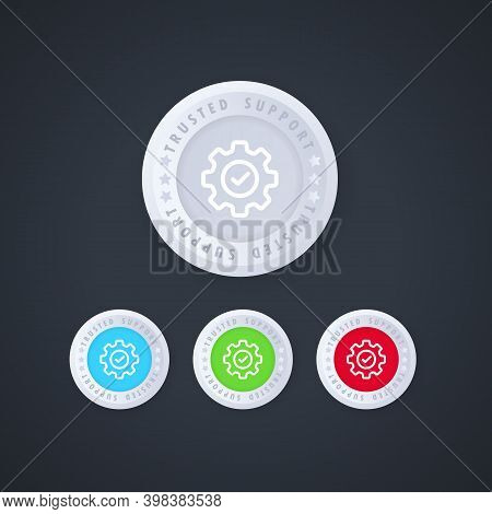Check Mark With Gear. Trusted Support Button In 3d Style. Trusted Support Icon Set. Vector
