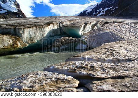 Next To The Glacier: Columbia Icefield / Athabsca Glacier In The Canadian Rocky Mountains In Banff A