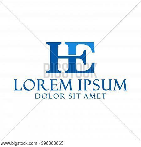 Initial Letter He Logo Template With Elegant Vintage Serif Font Illustration In Flat Design Monogram