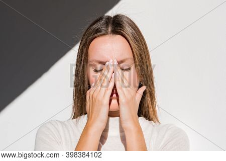 Woman Feeling Unwell, Painful Headache Because Of Sinus Ache, Sinusitis, Sinus Pressure. Sad Woman H