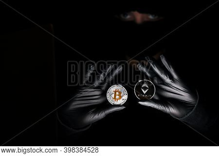 International Hacker Is Trying To Steel Your Crypto Currencys. Blockchain Security. Thief With Lapto