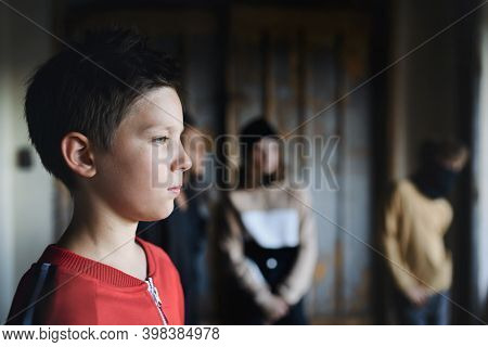 Sad And Disappointed Teenagers Boy Indoors In Abandoned Building, Bullying Concept.