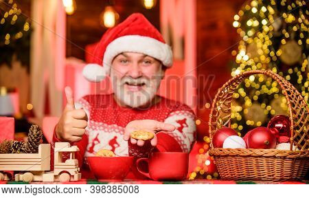 New Year. Grandpa With Mug. Cozy Interior. Hot Beverage And Cookies. Cozy Atmosphere. Cozy Home. Chr