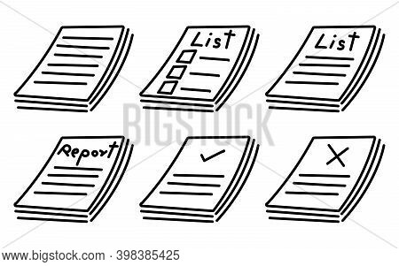 Set Of Basic Report Paper Or Document Icon On White Background (vector Illustration)