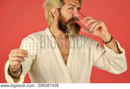 Sleeping Basic Human Need. Hangover Concept. Man Thirsty Morning. Hipster Drink Water Take Medicines