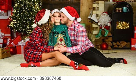 Idyllic Moment. Father And Mother With Cute Son Christmas Tree Background. Family Values. Boxing Day