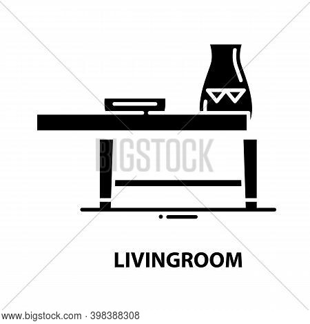 Livingroom Icon, Black Vector Sign With Editable Strokes, Concept Illustration