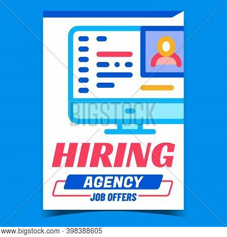 Hiring Agency Job Offers Promotion Banner Vector. Recruitment Agency For Offering And Finding Work,