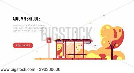 Landscape With Bus Stop, Autumn Shedule, Flas Style Vector