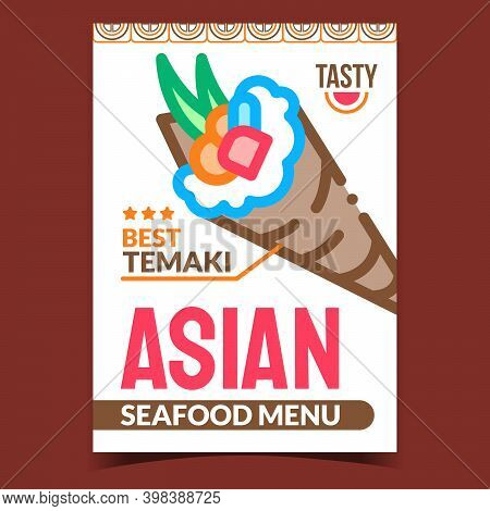 Asian Seafood Menu Creative Promo Poster Vector. Temaki Seafood Dish Prepared With Nori And Rice, Fi