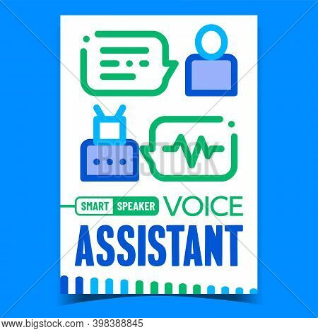 Voice Assistant Creative Promotion Banner Vector. Voice Smart Speaker, Communication With Robotic On