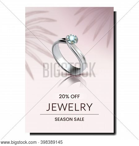 Ring Jewelry Accessory Promotional Banner Vector. Platinum Jewellery Ring With Diamond Stone, Expens