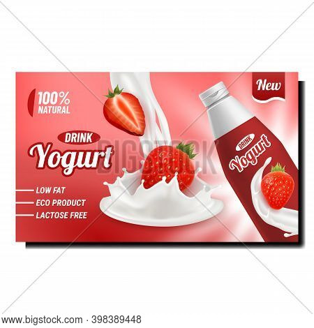 Yogurt Drink Creative Promotional Poster Vector. Yogurt Blank Bottle, Dairy Product Splash With Stra