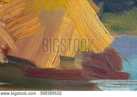 Abstract Multicolored Background With Oil Paint. Hand-textured Background For Signage And Banners. A