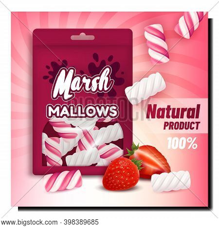 Marshmallows Creative Promotional Poster Vector. Strawberry Marshmallows Blank Package And Ripe Berr