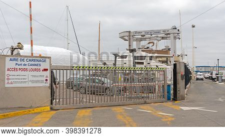 Cannes, France - January 30, 2018: Closed Gate At Port Entrance In Cannes, France.