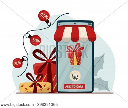 Online Shopping Concept With Mobile Phone And Gift Boxes. E-commerce Online Shop, Digital Marketing