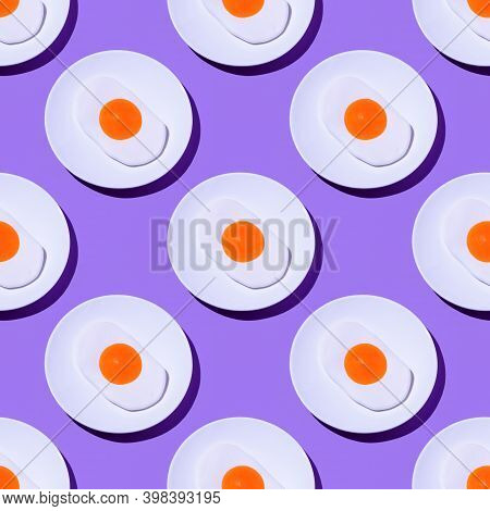 Fried Egg Gummy Candy Pattern On Purple Color Background. Modern Food Photography Collage