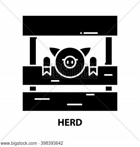 Herd Icon, Black Vector Sign With Editable Strokes, Concept Illustration