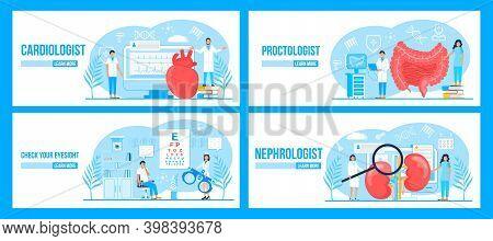 Cardiologist, Proctologist, Nephrologist, Eye Doctor Concept Set Vector For Landing Page, Medical