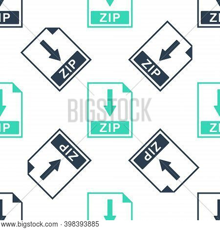 Green Zip File Document Icon. Download Zip Button Icon Isolated Seamless Pattern On White Background