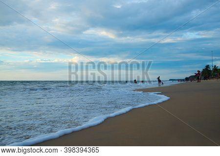 Kerala, India - 03 December 2020: People Enjoying Holidays On Beach, Cherai Beach Kerala India